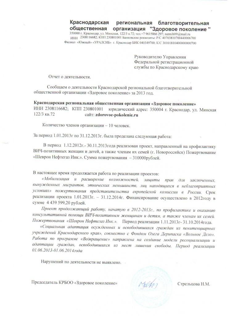 отчет в юстицию 2013г.