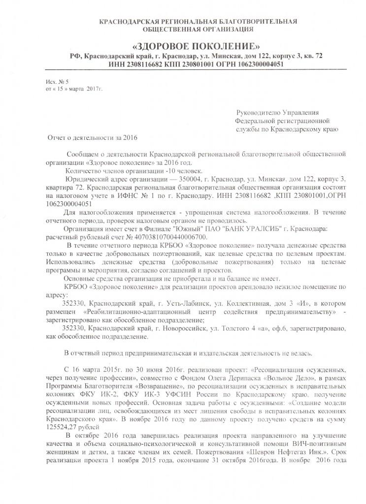 Отчет о деятельности в 2016году